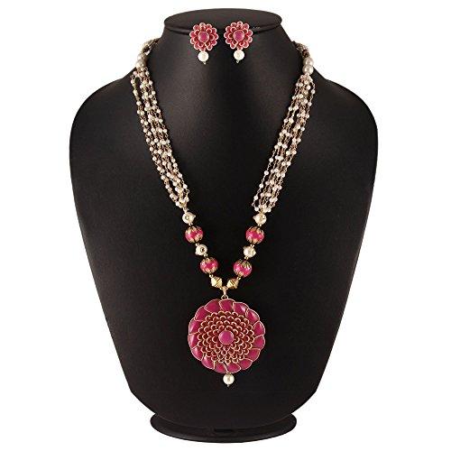 SIMAYA FASHIONISTA Pink Pearl Pendant Necklace Earrings Jewellery Set For Women