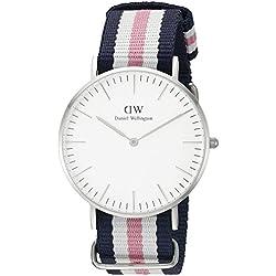 Daniel Wellington Southampton Silver Women's Quartz Watch with White Dial Analogue Display and Multicolour Nylon Strap 0605DW