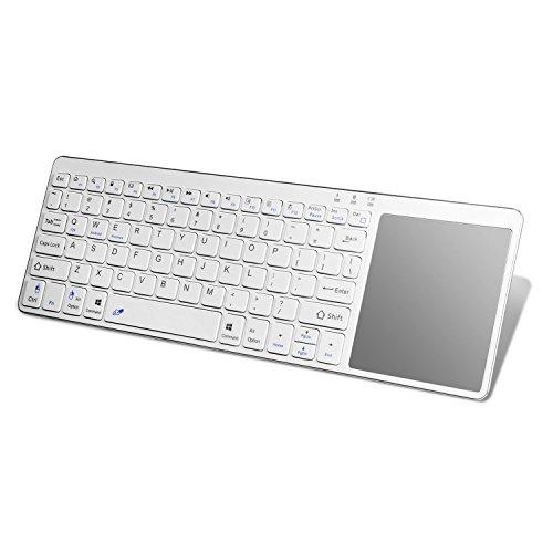 Alitoo Wireless Bluetooth Tastatur mit Multi-Touchscreen Große Größe, ergonomische Tastatur Ultraslim Protable für Geräte iOS und Windows (Batterie nicht enthalten) silber (Protable-batterie)