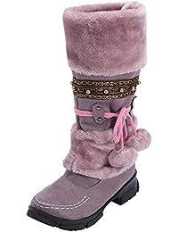 d5135062b NANIH Shoes Mantener Caliente Bola de Pelo Botas de Nieve Ocio para Mujeres  Slip-on Punta Redonda Botines de tacón Cuadrado Zapatos…