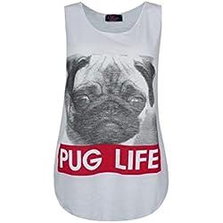 Love Celeb Look - Camiseta sin mangas - para mujer blanco White-Pug Life