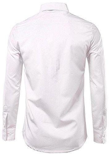 jeansian Herren Freizeit Hemden Casual Long Sleeves Slim Fit Fashion Bear Printing Dress Shirts Tops 84J2 White
