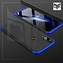 TheGiftKart Full Body 3 in 1 Slim Fit Complete 3D 360 Degree Protection Hybrid Hard Bumper Back Case Cover for Huawei P20 Lite (Black & Blue)