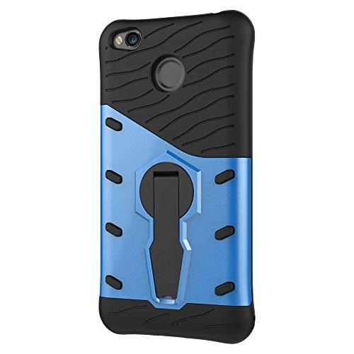 Für Xiaomi Hongmi 4x Fall Neue Rüstung Tough Style Hybrid Dual Layer Rüstung Defender Soft TPU / PC Rückseitige Abdeckung Fall mit 360 ° Stand [Shockproof Case] ( Color : Silver ) Blue