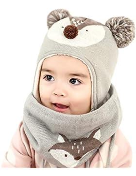 DORRISO Unisex-Baby Jungen Mädchen Mütze Schal Set Winter Herbst Beanie Strickmütze Niedlich klein Fuchs Wintermütze