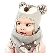 DORRISO Cappello Sciarpe Bambino Invernale Primavera Carina Piccolo Volpe  Beanie Cappelli Berretto Bambini Infantili del Cappello per 1-6 Anni  Bambino Set ... 416ab1446e25