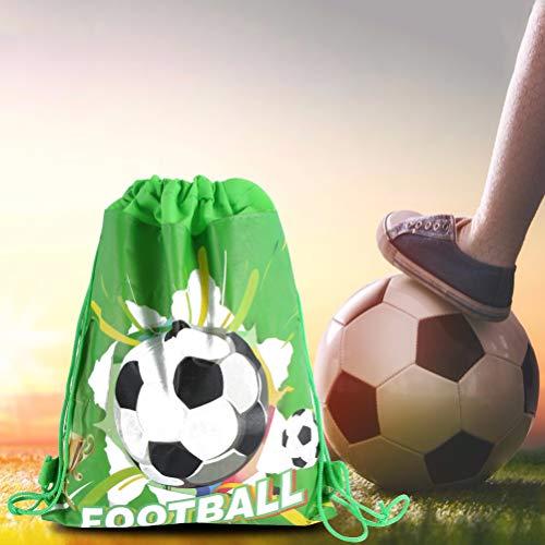 EqWong 12 Piezas de Fiesta de fútbol Favor Bolsas de Regalos, Regalo de Regalo Mochila con cordón de fútbol Suministros de decoración de cumpleaños para niños Niños Niñas Fiesta