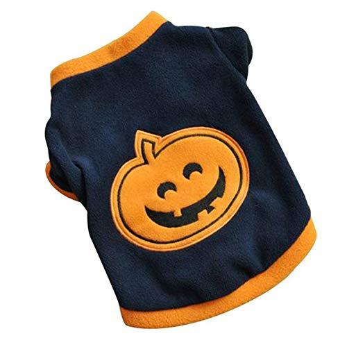 ENticerowts Halloween-T-Shirts, Hundewelpen, Fleece, warme Kleidung, süßes Halloween-Kürbis-Stil, Polarfleece, Schwarz/Orange, xs (Krähe Kostüm Für Hunde)