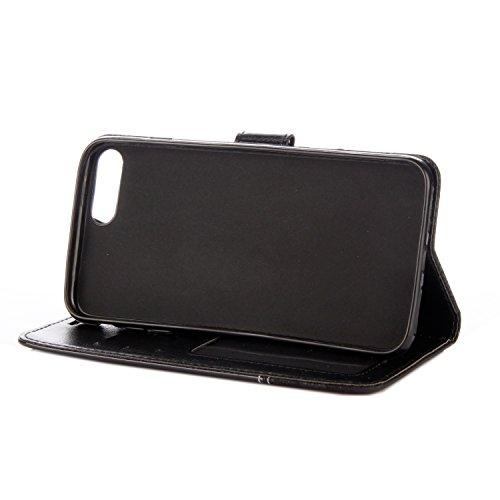 iPhone 7 Plus Custodia, iPhone 7 Plus Cover Wallet, SainCat Custodia in Pelle Cover per iPhone 7 Plus, Anti-Scratch Protettiva Caso Elegante Creativa Dipinto Pattern Design PU Leather Flip Portafoglio Nero + Nero