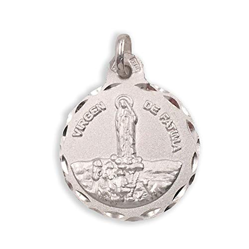 Medalla Religiosa - Virgen de Fátima 21 mm. Plata de Ley 925 milésimas