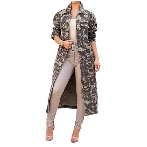 CuteRose Women's Vogue Multicamo Plus Size Long Jacket Outwear Trench Army Green XS -