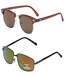 Vast Combo UV Protection Clubmaster And Polarized Unisex Sunglasses (GLDMIRROR_CMGLD)