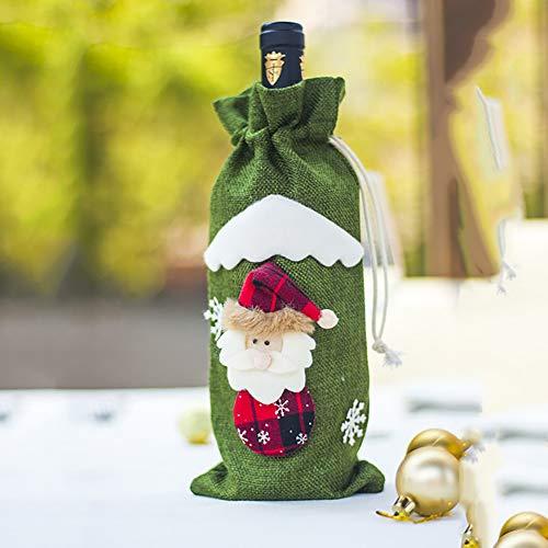 Minions Boutique Weihnachtsweinflasche Abdeckung Tasche Weihnachtsschmuck Elf Weihnachtsmann Schneemann Leinen Weinflasche Tasche Party Dekoration