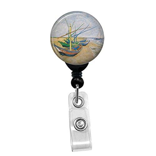 Vincent Van Gogh-Fischerboote am Strand saintes-maries-Retractable Badge Reel-ID Namensschild Custom Badge Holder Black Badge Reel with Belt Slide Clip -