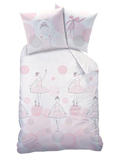 Bettwäsche Rosa Set Mädchen (BALLERINA Mädchen Bettwäsche Set · Kleine Tänzerin · Wende Motiv mit Herzchen und Punkten · rosa - Kissenbezug 80x80 + Bettbezug 135x200 cm - 100% Baumwolle)