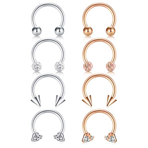 JFORYOU Horseshoe Circular Barbell CZ Stone Barbell Nose Septum Rings Hoop Lip Ring Helix Cartilage Tragus Earring 316L Surgical Steel 16G 8mm Rose Gold and Silver Pack