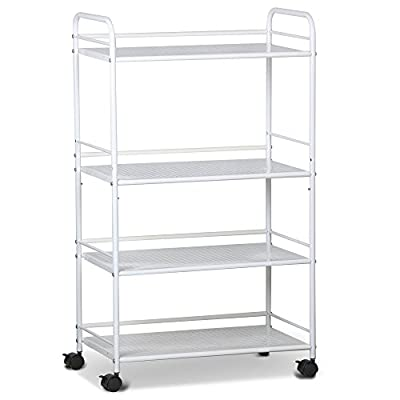 tinkertonk 3/4 Shelf Large Beauty Salon Trolley Cart Spa Storage Tray Therapy Dentist Hairdresser Treatments, White