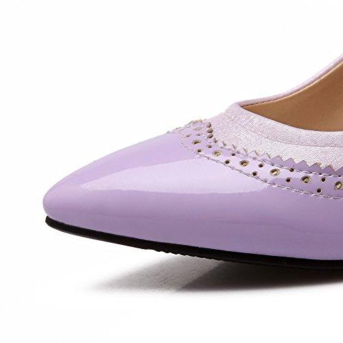 VogueZone009 Femme Pointu Stylet Tire Couleurs Mélangées Chaussures Légeres Violet