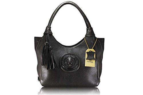 FERETI 5 FARBEN Hohe Qualität echtes Leder Damen Henkeltaschen, Schultertaschen, Bolt-Bags, Handtaschen, Umhängetaschen, Soft Leder Braun (dunkelbraun)