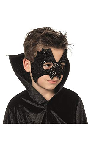 Jannes 24302 Halloween-Maske Fledermaus Pailetten für Kinder Bat Vampir Blutsauger Grusel Horror Scary HochwertigEinheitsgröße Schwarz