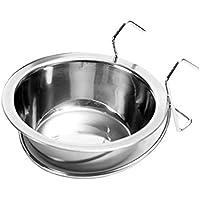 Xiuinserty - Cuenco colgante de acero inoxidable para mascotas, comedero para perro, cachorro, gato, pájaro, loro, jaula de agua, productos de alimentación Large