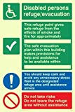 """Viking Signs SD962-A5P-P """"Disabled Persons Refuge Evacuation"""" Sign, Semi-rigid Photo luminescent Plastic, 200 mm H x 150 mm W"""