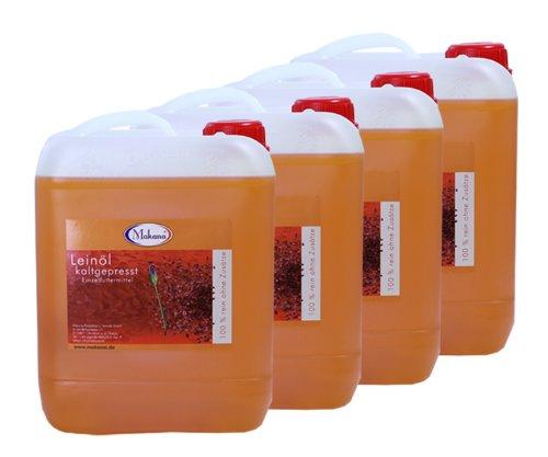 Makana Leinöl für Tiere, kaltgepresst, 4 x 5 l Kanister