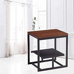 MU Table d'appoint de ménage Table d'appoint Moderne Table d'appoint en Fer à Repasser Table de téléphone Table de Bureau MDF Naturel créatif 400 * 520 * 550Mm