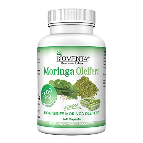 BIOMENTA MORINGA OLEIFERA | AKTION!!! | 1.600 mg Moringa-Pulver/Tag | 140 Moringa-Kapseln | VEGAN