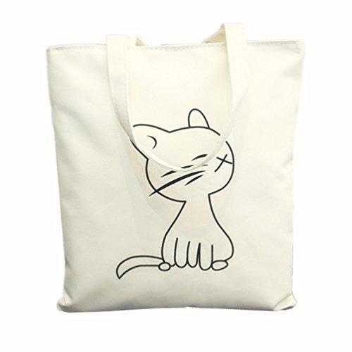 Katze Leinwand Einkaufstasche mit Reißverschluss Closure Grocery Shopping Bag Umhängetasche für Frauen Mädchen Studenten (Bookbag Wickeltasche Für Mädchen)