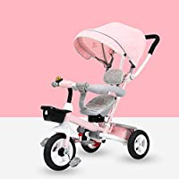 QXMEI 4 In 1 Childrens Folding Tricycle 12 Months To 6 Years 360° Swivelling Saddle Children