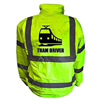Tram Driver Kids Hi Vis Yellow Bomber Jacket, Reflective High Visibility Safety Childs Coat, By Brook Hi Vis