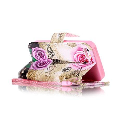 Etsue Custodia iPhone SE,iPhone 5S Cover,Creativo Disegni Wallet Case Con Stand Magnetico Leather Pu Flessible Sottile Portafoglio Cover Con Corda Colorate Dipinto Modello Marvel Libro in Pelle Antigr Rosa/Rose Fiori