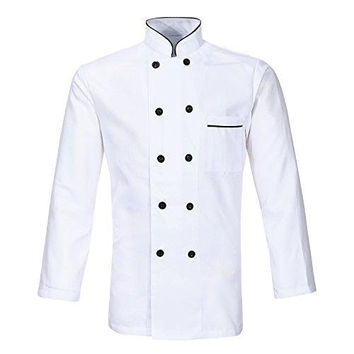 Nanxson Unisex Herren Kochjacke weiß Kurzarm Baumwolle Küche Hotel Kochkleidung Uniform Berufsbekleidung mit knöpfen CFM0001