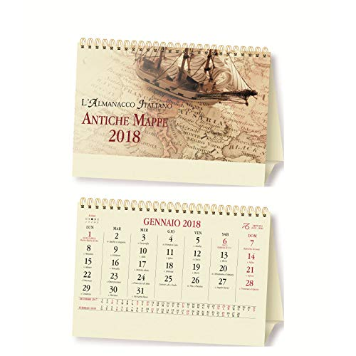 Calendario da tavolo triangolare Antiche Mappe annuario 2019 spiralato 19x14 avorio