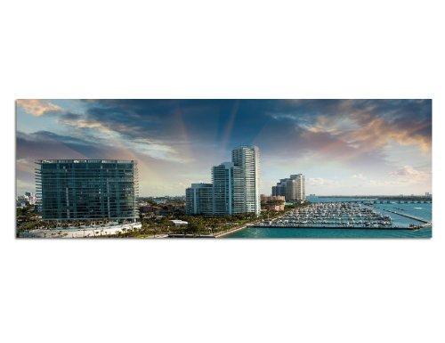 Panoramabild XXL auf Leinwand und Keilrahmen 180x70cm Miami Hochhäuser Hafen Meer Boote Wolken