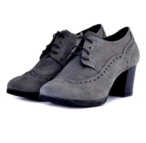 Francesine Soldini donna 19659GRIGIO numero 40 in camoscio grigio gray suede tacco robusto woman shoes