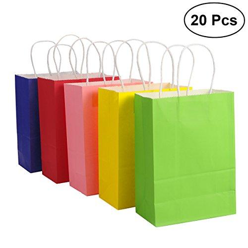 TOYMYTOY Geschenk-Beutel, Kraftpapier-Beutel mit Handgriff-Einkaufen-Bevorzugungs-Beutel, 20pcs, Mischungs-Farben