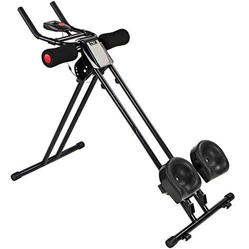 Physionics AB Plank Trainer | Bauchtrainer mit Trainingscomputer und LCD-Display | max. Belastungsgewicht: 120 kg | Farbe: Schwarz | Fitnessgerät, Kraftsport, Cardio