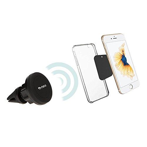 NALIA Magnetic Air Vent Mount KFZ Handyhalterung mit Quick-Snap Funktion Kugelgelenk 360° Grad verstellbar für Lüftungsgitter Magnetische Auto-Halterung Car Phone Holder für Smartphone, iPhone, Navi (Air-vent-mount)