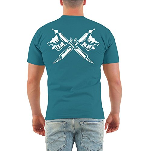 Männer und Herren T-Shirt Tätowiert & arbeiten geh ich auch (mit Rückendruck) Größe S - 8XL Pazifikblau