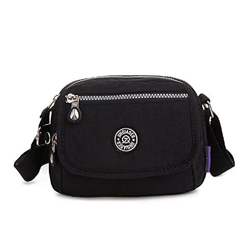 TianHengYi Mini Water Resistant Cross-body Bag Lightweight Nylon Travel Messenger Bag for Girls Black