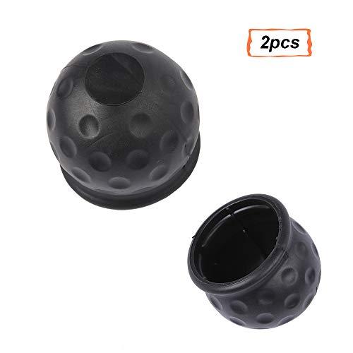 AOHEWEI 2pcs Anhängerkupplung Ball Abdeckung Schwarz50mm Gummi Weich Towball Bar CapAnhänger Hitch CoverAbschleppen Golfball perfekt FürAnhängerLKW Wohnwagen (Gummi) -