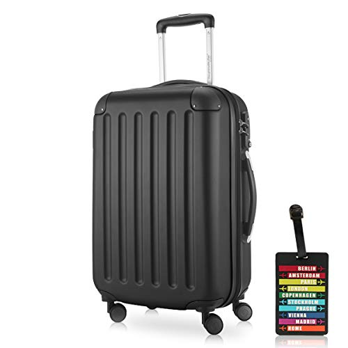 Hauptstadtkoffer - Spree Handgepäck Kabinentrolley Bordgepäck Hartschalen-Koffer, sehr leicht, TSA, 55 cm, 42L, Schwarz inkl. Design Kofferanhänger