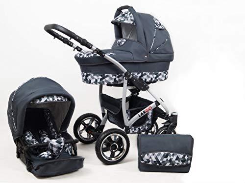 +++ SALE Raff Largo System Kinderwagen Babywagen Buggy, Autositz Kinderwagen System 3 in1 + Wickeltasche + Regenschutz +Insektenschutz (Set 3w1: Wanne + Sportsitz + Babyschale, grey-geometric)