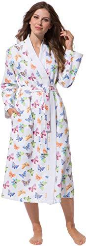 711701cbcd16c2 Morgenstern Kimono Bademantel Damen Weiß Schmetterling Größe XL Hausmantel  Morgenmantel Übergröße bunt Muster Viskose wadenlang leicht Sommer