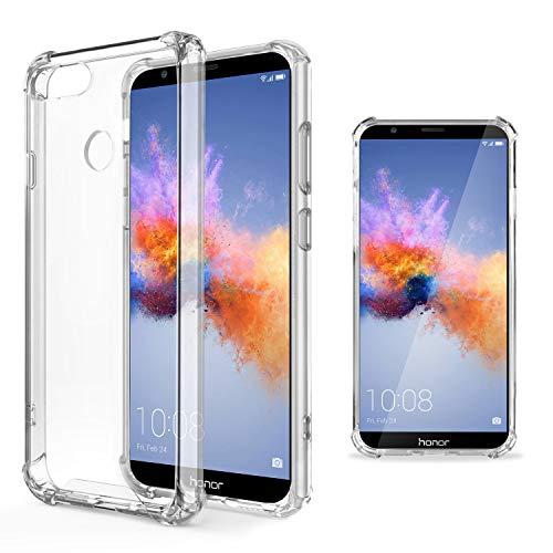 Moozy Transparent Silikon Hülle für Huawei Honor 7X - Stoßfest Klar TPU Case Handyhülle Schutzhülle