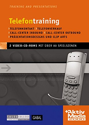 Telefontraining, 2 Video-CD-ROMs Telefonkontakt, Telefonverkauf, Call-Center Inbound, Call-Center Outbound. Für Windows 95/98/2000/NT/Me/XP. Mit über 80 digitalisierten Spielszenen. 47 Min.