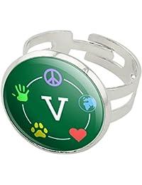 Vegan Values Circle Silver Plated Adjustable Novelty Ring