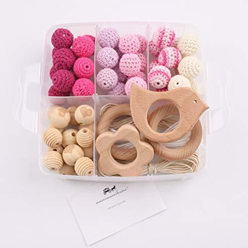 olz Beißring Tier Rassel Bio Häkeln Perlen DIY Halskette Kautabletten Baby Dusche Geschenk Kinderkrankheiten Spielzeug ()